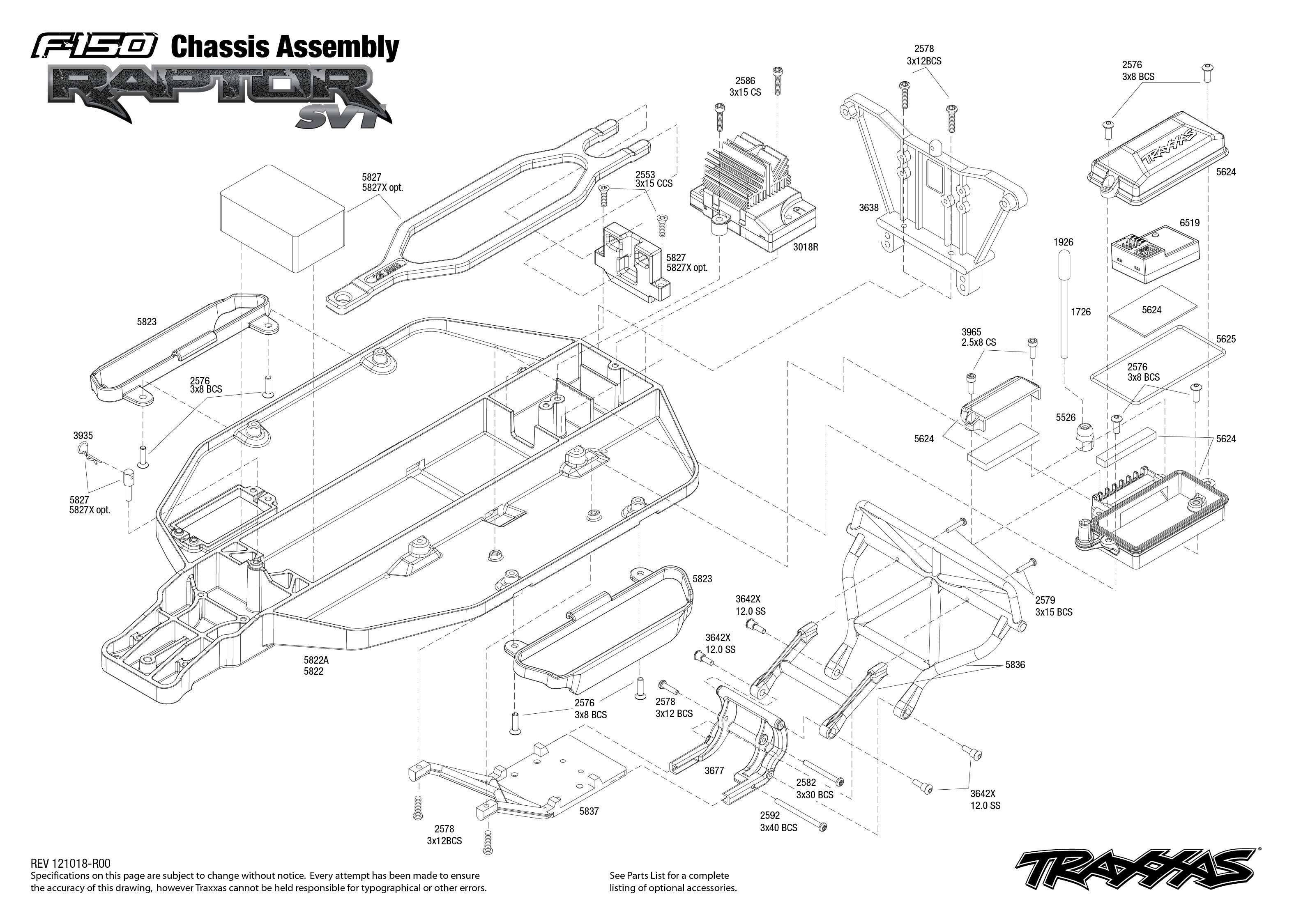 traxxas bouwtekening chassis ford f150 svt raptor