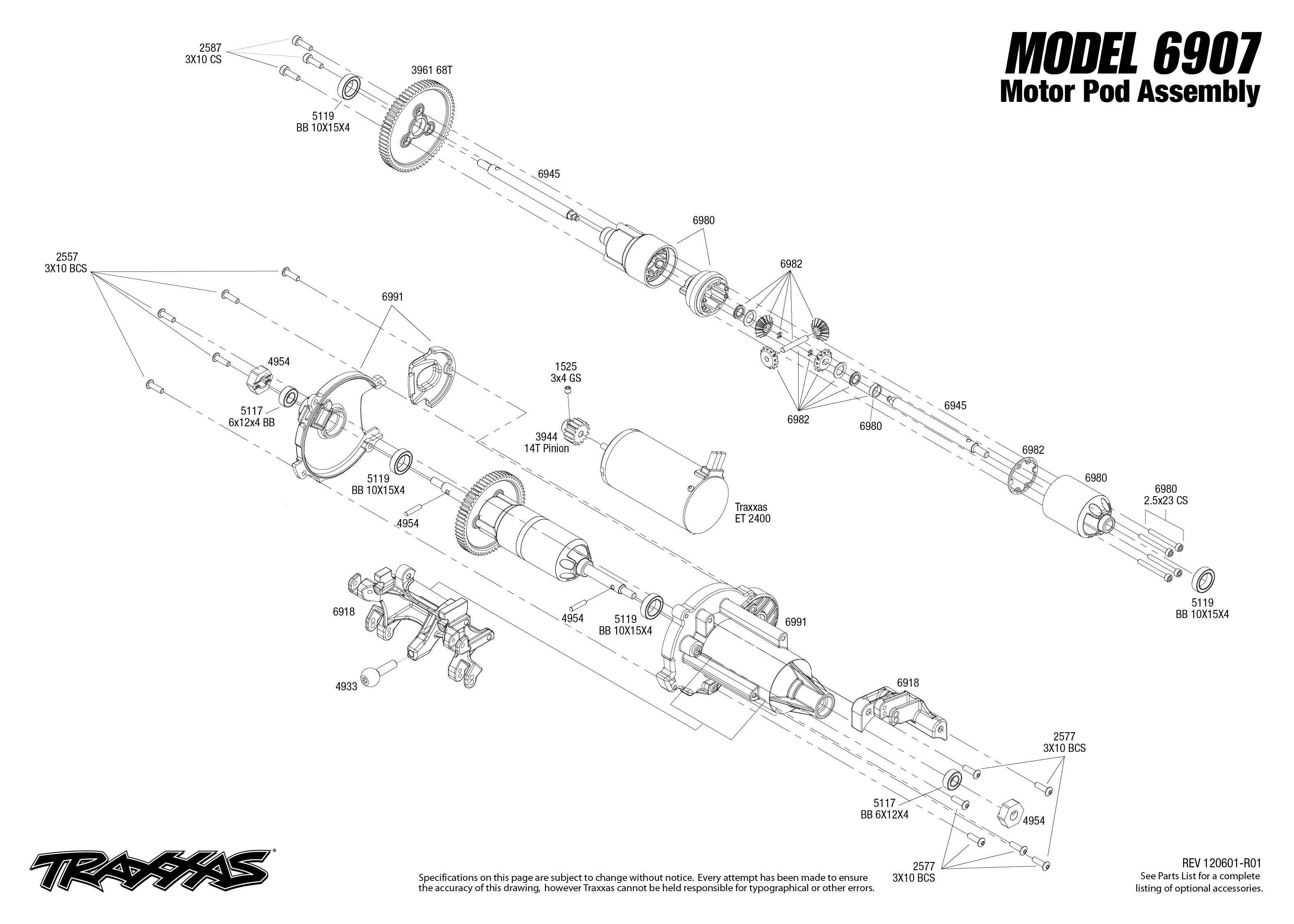 traxxas bouwtekening motor funny car