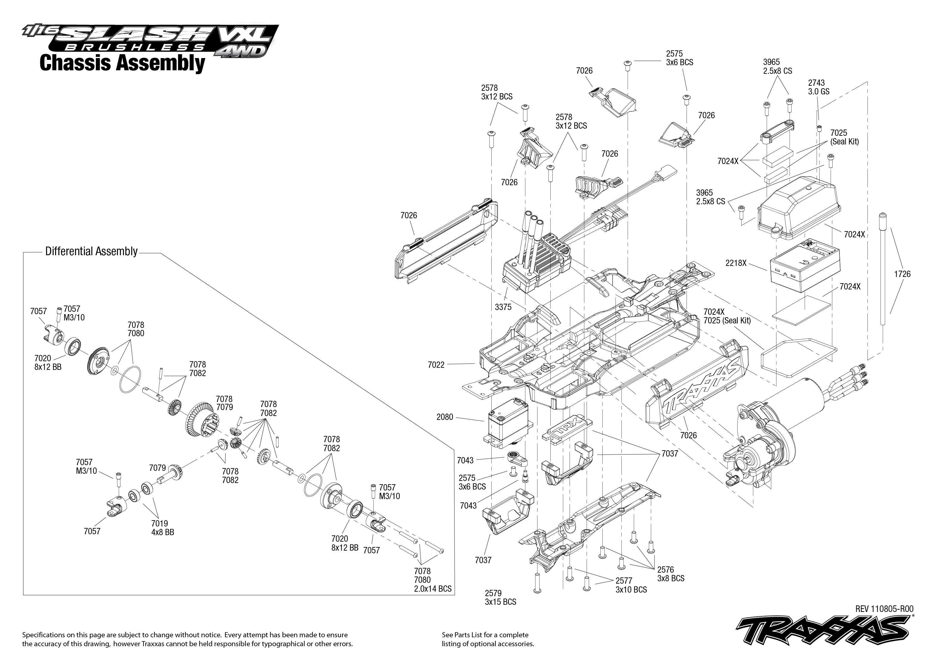 traxxas bouwtekening chassis 1  16 slash vxl