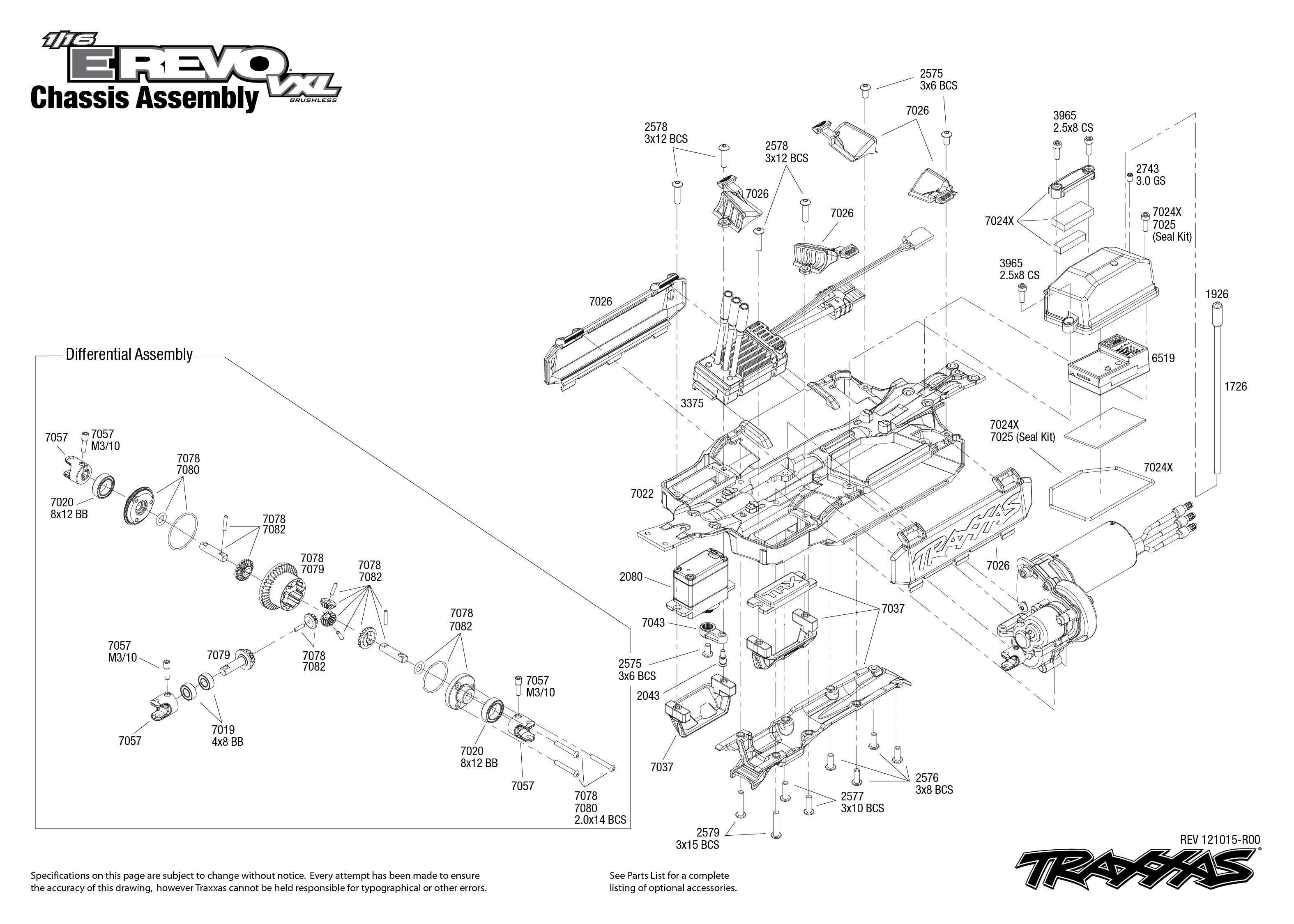 traxxas u bouwtekening chassis 1  16 revo vxl