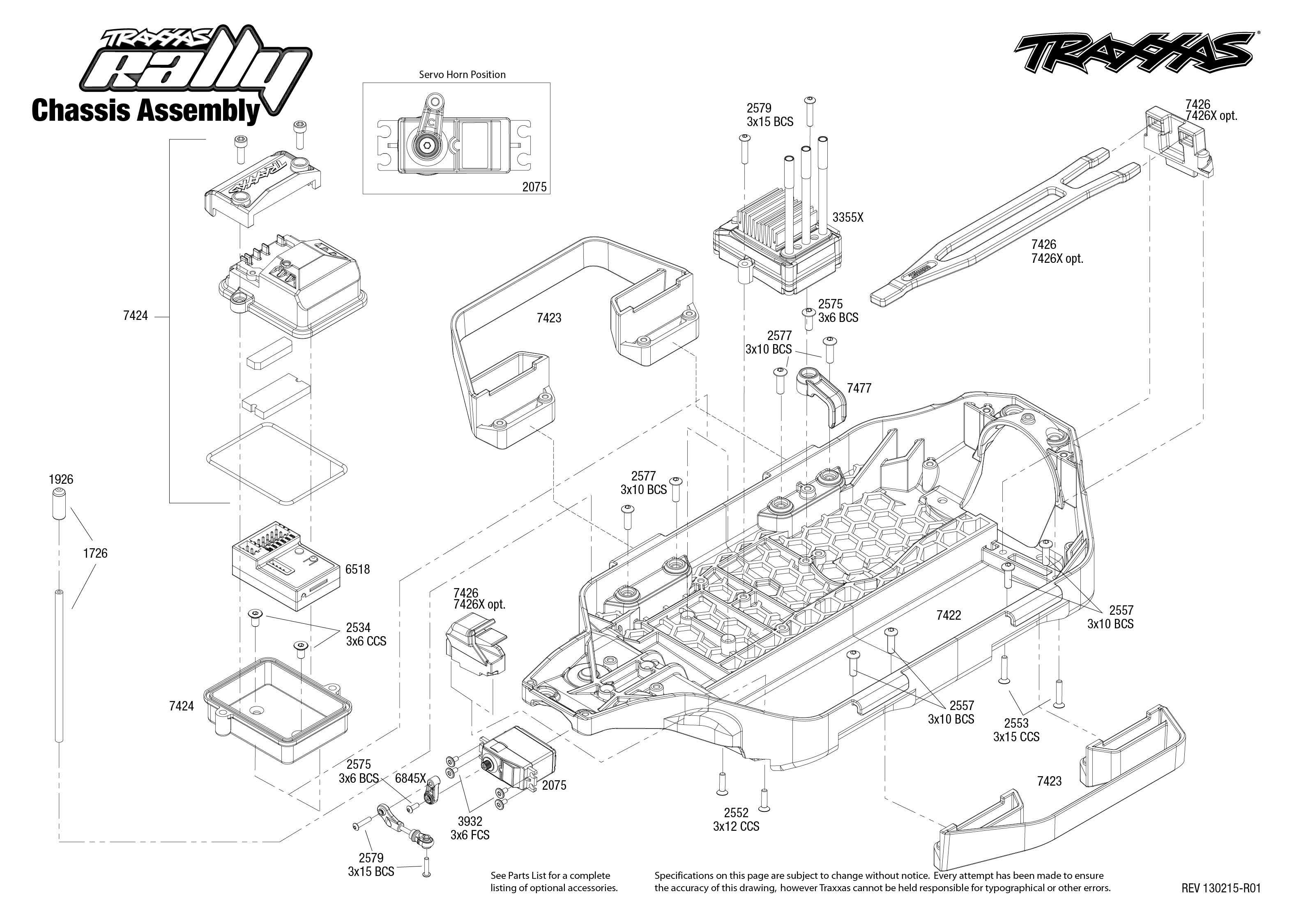 traxxas chassis rally 7407