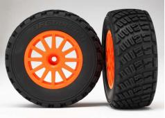 Traxxas TRX7473A Tires & wheels, assembled, glued (orange wheels