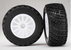 Traxxas TRX7473R Tires & wheels, assembled, glued (White wheels,