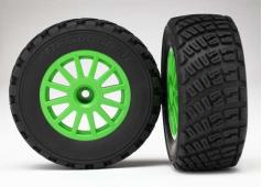 Traxxas TRX7473X Tires & wheels, assembled, glued (Green wheels,