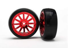 Traxxas TRX7573X Tires & wheels, assembled, glued (12-spoke red