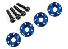 Traxxas TRX7668 Wheel nut washer, machined aluminum, blue / 3x12