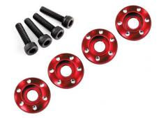 Traxxas TRX7668R Wheel nut washer, machined aluminum, red / 3x12
