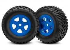 Traxxas TRX7674 Tires and wheels, assembled, glued (SCT blue whe