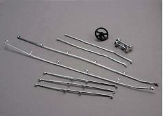 Traxxas TRX-1517 Deck rails & horns (chrome)/ steering wheel