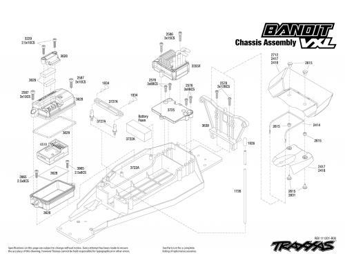 traxxas bouwtekening chassis bandit vxl